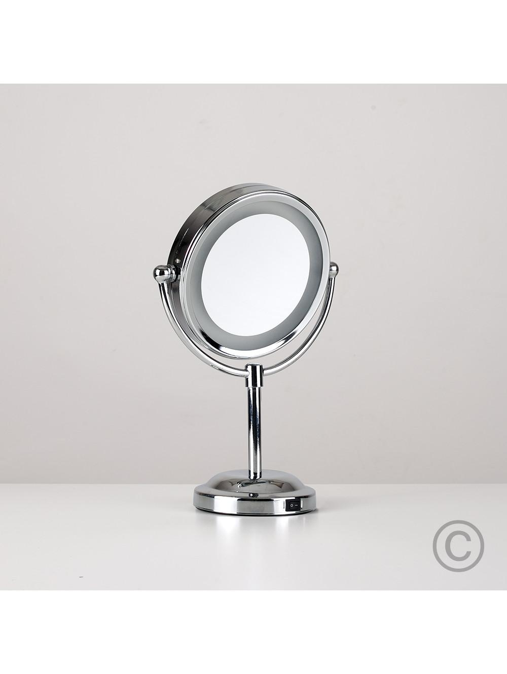 Small Round Light Up Free Standing Mirror | Valuelights Within Small Free Standing Mirror (Image 17 of 20)