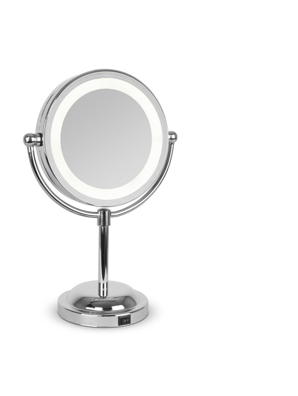 Small Round Light Up Free Standing Mirror | Valuelights Within Small Free Standing Mirrors (Image 19 of 20)