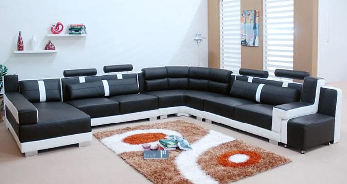 Sofa Beds Design: Fascinating Traditional Black And White Throughout Leather Modern Sectional Sofas (View 20 of 20)