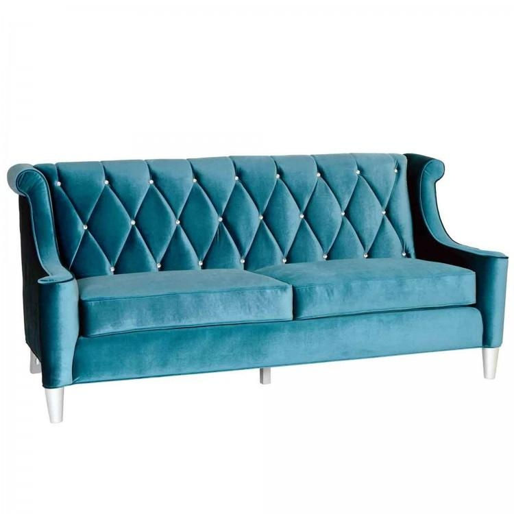 Sofa In Blue Velvet With Crystal Buttons Inside Barrister Velvet Sofas (Image 20 of 20)