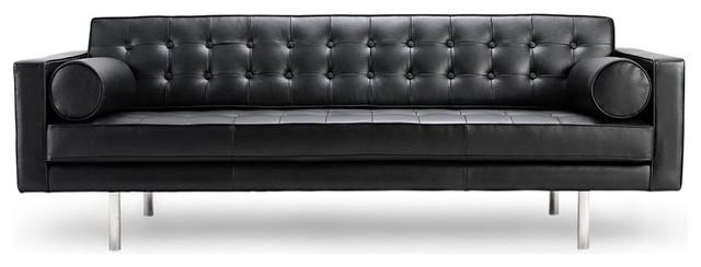 Sofa Modern Black Leather Clearance | Ciov Within Black Modern Couches (Image 20 of 20)