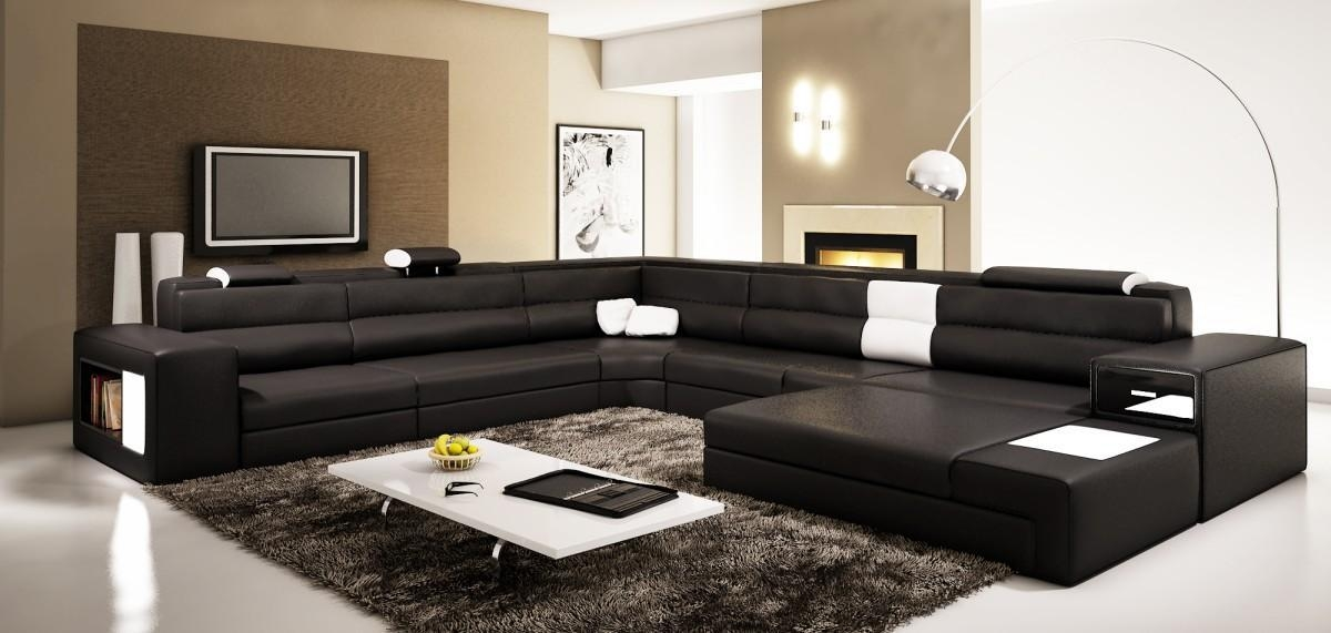 Sofas Center Brown Leather Sectional Sofa Modern With Recliners Intended For Leather Modern Sectional Sofas (View 5 of 20)