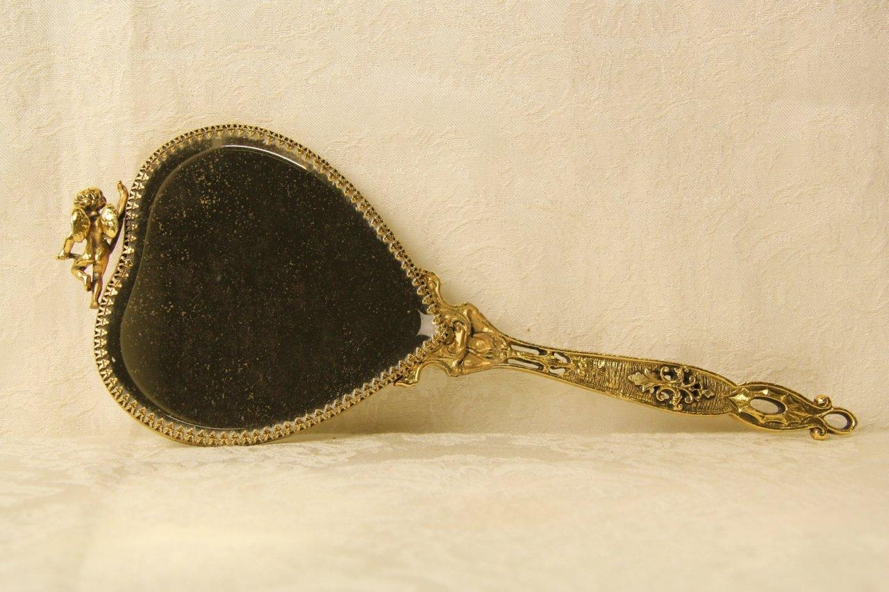 Sold – Boudoir Vintage Gold Filigree Heart Shape Hand Mirror With Regard To Gold Heart Mirror (View 6 of 20)