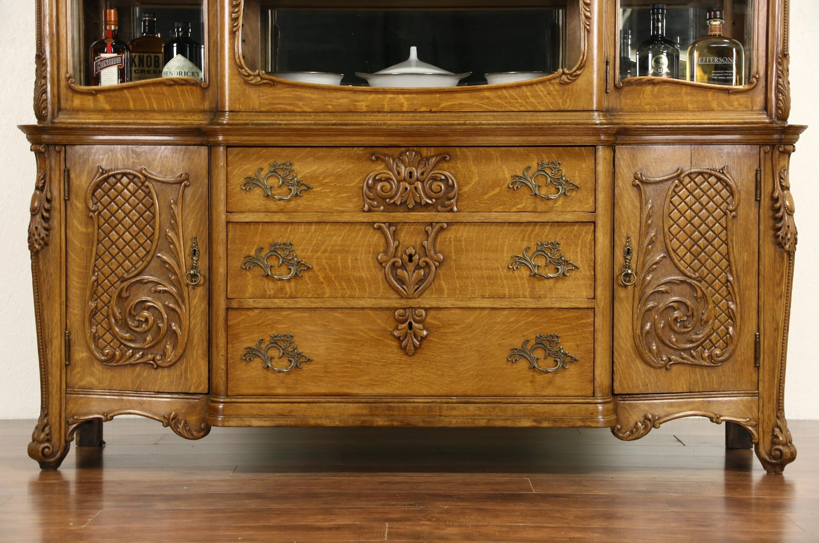 Sold – Oak Victorian Carved 1910 Antique China Display Cabinet In Victorian Style Mirrors (View 19 of 20)
