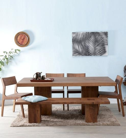 Solid Acacia Wood Dining Table – Chunky Solid Wood Dining Table With Portland Dining Tables (Image 18 of 20)