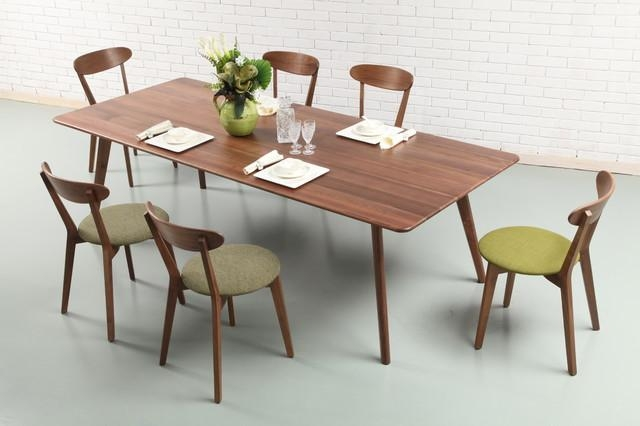 Solid American Walnut Dining Table With Green Walnut Chairs With Regard To Walnut Dining Tables And Chairs (Image 12 of 20)