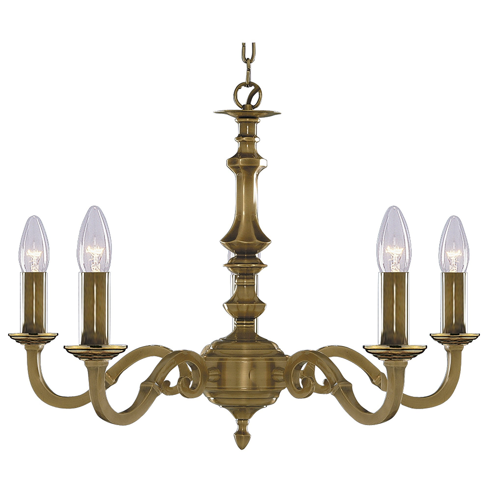 Solid Brass 5 Light Fitting With Metal Candle Tubes Inside Light Fitting Chandeliers (Image 24 of 25)