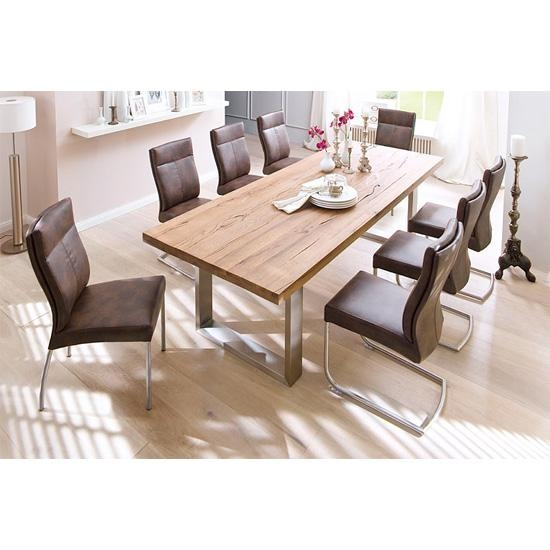 Solid Oak 8 Seater Dining Table With Charles Chairs In Eight Seater Dining Tables And Chairs (Image 19 of 20)