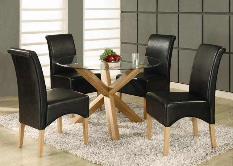 Solid Oak Dining Table 4 Chairs – Destroybmx Pertaining To Round Glass And Oak Dining Tables (View 15 of 20)