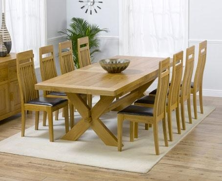 Solid Oak Dining Table And 8 Chairs Regarding Extendable Dining Tables With 8 Seats (Image 15 of 20)