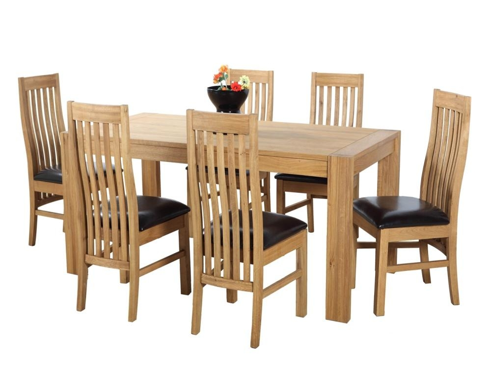 Solid Oak Furniture Large Extending Dining Table And Six Chairs Inside Extending Solid Oak Dining Tables (Image 16 of 20)