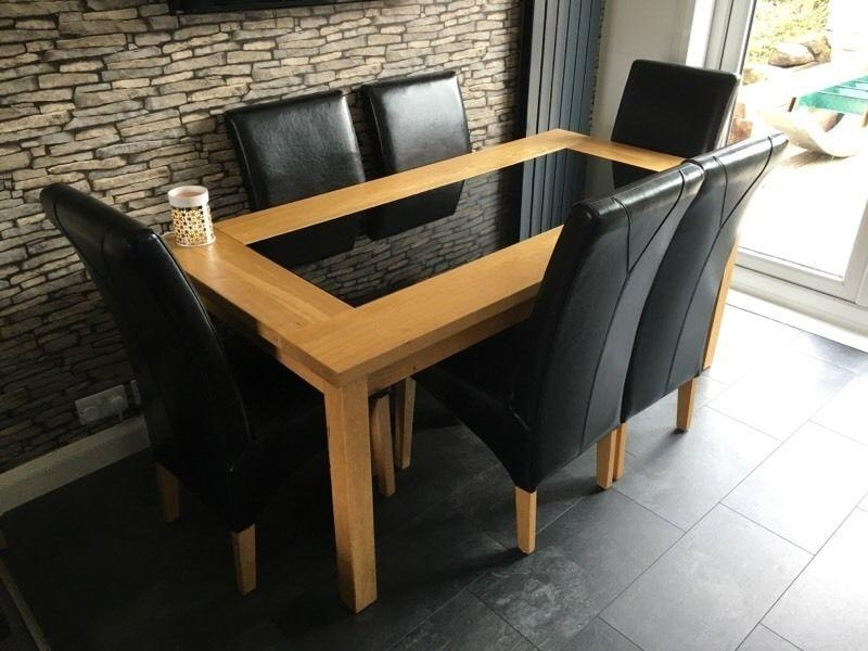 Solid Oak & Glass Dining Table With 6 Leather Chairs | In Newton With Regard To Oak And Glass Dining Tables (Image 17 of 20)