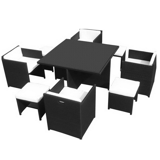 Space Efficient Cube Dining Table And Chair Set Pe Wicker Outdoor Throughout Cube Dining Tables (Image 18 of 20)