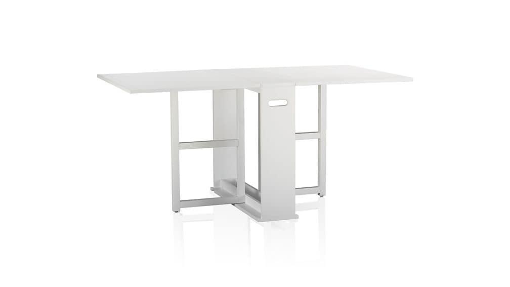 Span White Gateleg Dining Table | Crate And Barrel Within Black Folding Dining Tables And Chairs (Image 15 of 20)
