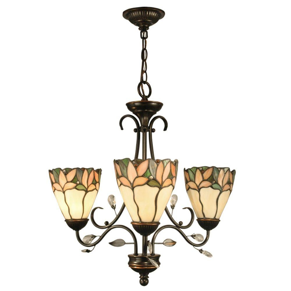 Springdale Lighting Crystal Leaf 3 Light Antique Bronze Hanging Regarding 3 Light Crystal Chandeliers (Image 19 of 25)