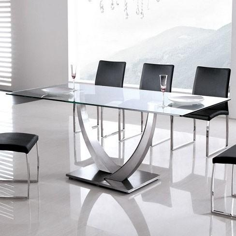 Stainless Steel Dining Table With Wheels : Modern Kitchen Inside Glass And Stainless Steel Dining Tables (Image 19 of 20)