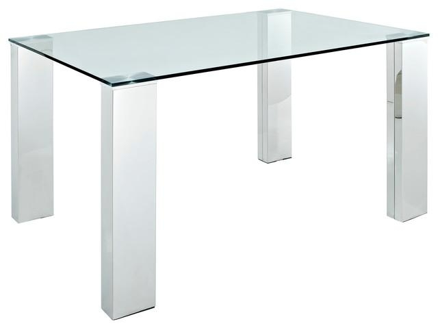 Staunch Glass Top Dining Table With Stainless Steel Legs – Modern Within Glass And Stainless Steel Dining Tables (Image 20 of 20)