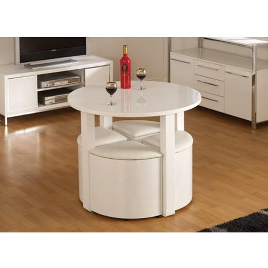 Stefan Stowaway White Gloss Round Dining Table And 4 White Within Stowaway Dining Tables And Chairs (View 19 of 20)