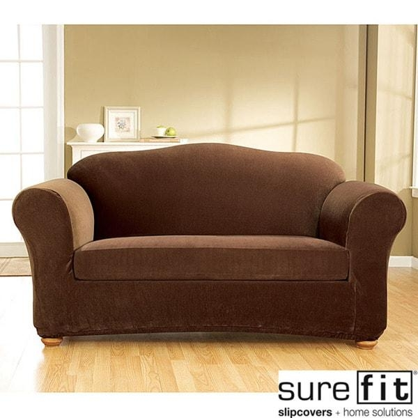 Stretch Corduroy 3 Piece Loveseat Slipcover – Free Shipping Today For Loveseat Slipcovers 3 Pieces (View 3 of 20)