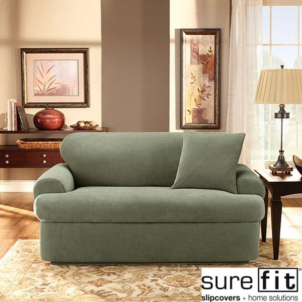 Stretch Pique 3 Piece T Cushion Loveseat Slipcover – Free Shipping Throughout Loveseat Slipcovers 3 Pieces (View 4 of 20)