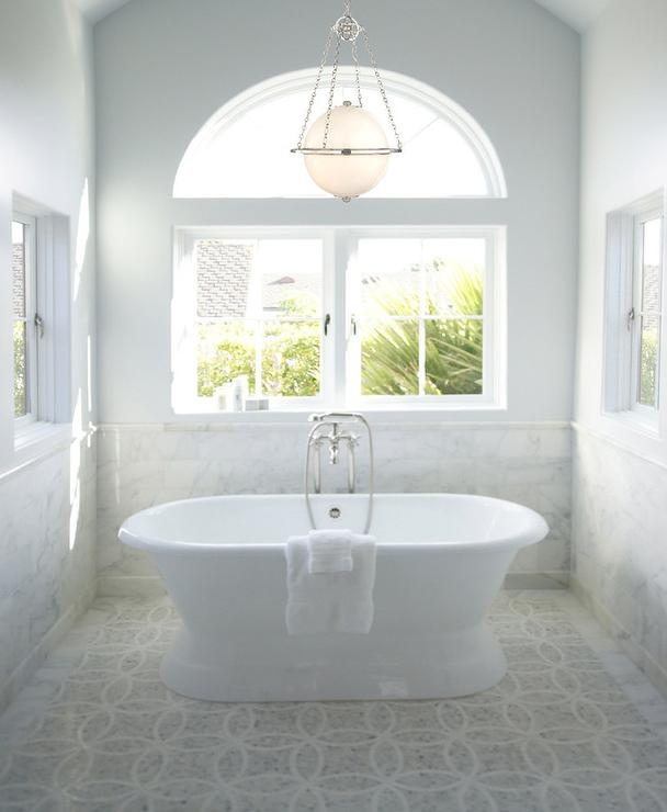 Stunning Bathroom Features Vaulted Ceiling Accented With Sphere Throughout Wall Mounted Bathroom Chandeliers (Image 18 of 25)