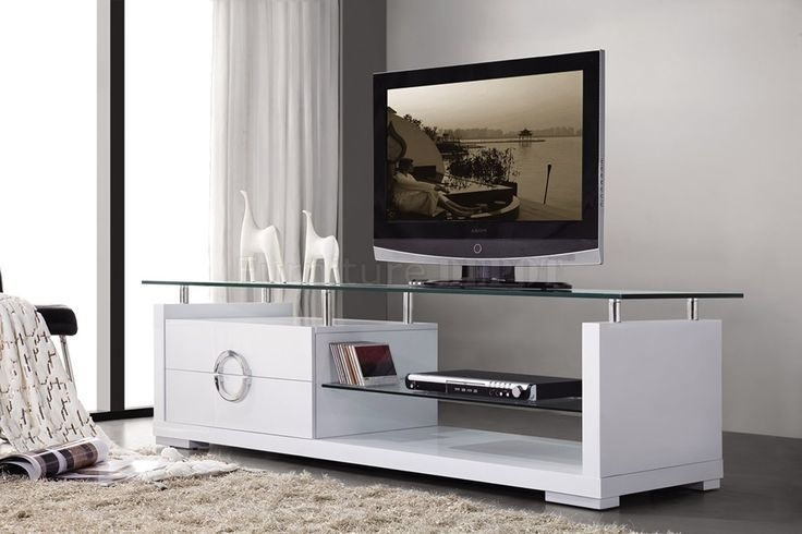 Stunning Best Led TV Cabinets Throughout White Finish Modern Tv Stand Wtwo Drawers Glass Top Tv Stand (Image 41 of 50)