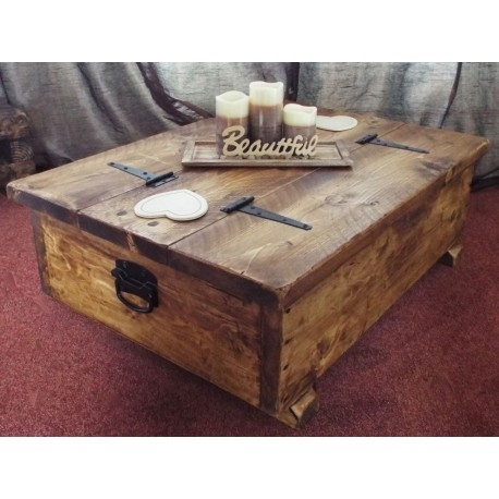 Stunning Brand New Chunky Wood Coffee Tables Inside Coffee Table Storage Box Wooden Plank Rustic Blanket Chest Toy (Image 43 of 50)