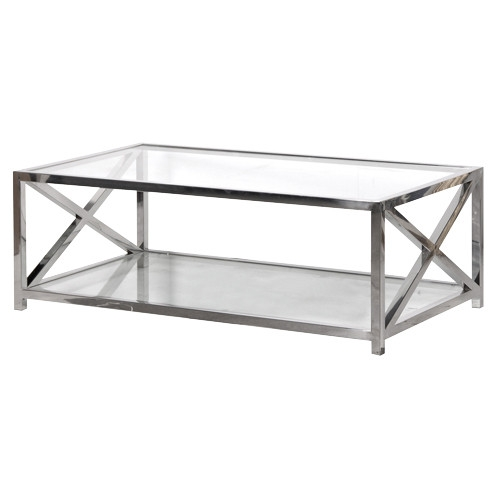 Stunning Brand New Glass Chrome Coffee Tables With Living Room Great Coffee Table Modern Sample Glass And Chrome (Image 30 of 40)