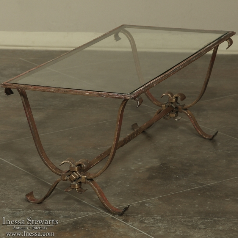 Stunning Brand New Iron Glass Coffee Table With Antique Wrought Iron Glass Coffee Table Inessa Stewarts Antiques (Image 45 of 50)