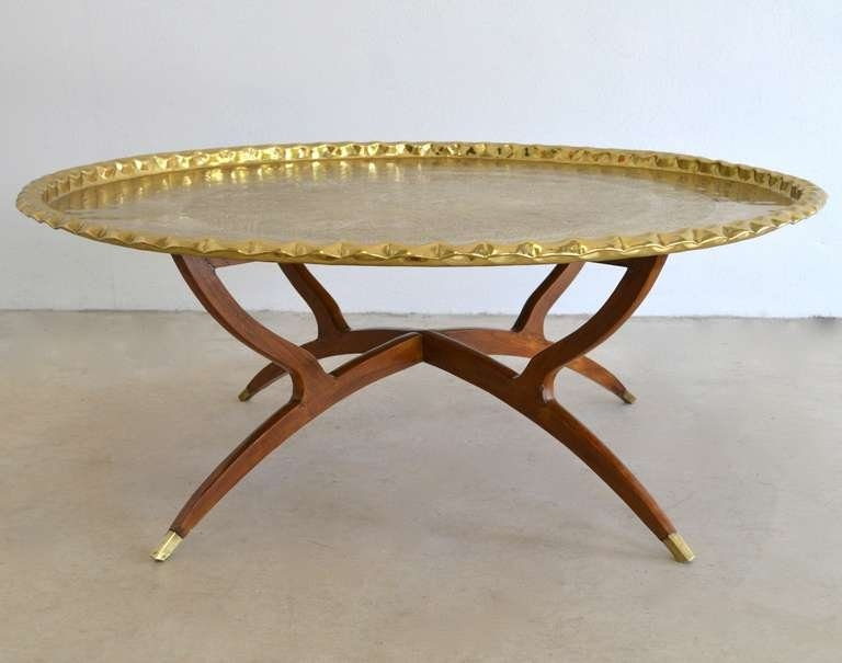 Stunning Brand New Round Tray Coffee Tables With Regard To Round Brass Tray Top Coffee Table At 1stdibs (Image 43 of 50)