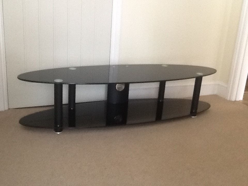 Stunning Common Black Oval TV Stands In Black Glass Tv Stand 150 X 45 X 35 Cm Immaculate Condition Buyer (Image 39 of 50)
