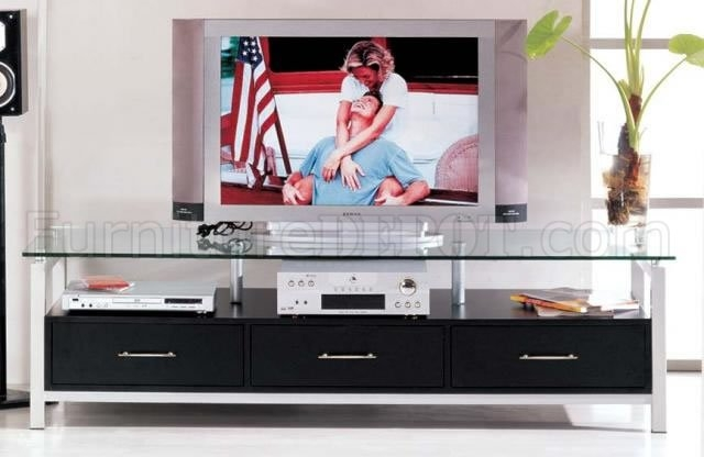 Stunning Common Black TV Stands With Drawers In Black Color Contemporary Tv Stand With Three Drawers (Image 43 of 50)