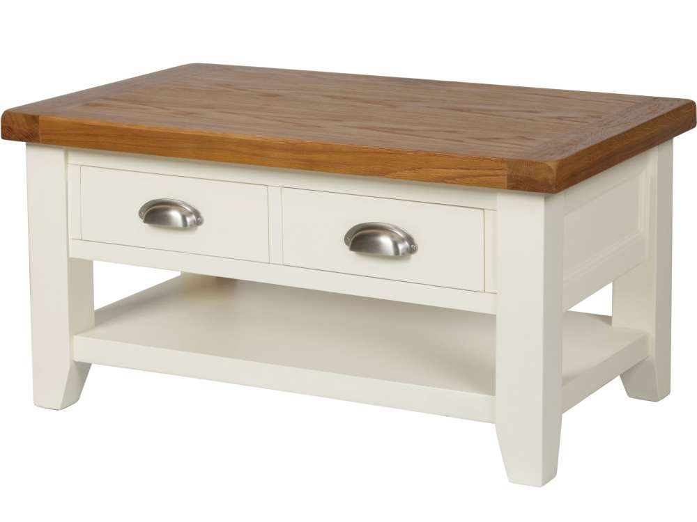 Stunning Common Cream And Oak Coffee Tables Throughout Country Oak Cream Painted Coffee Table With Drawers (Image 33 of 40)