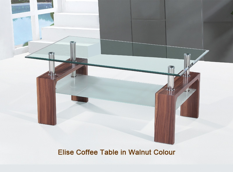 Stunning Common Elise Coffee Tables Intended For Elise Clear Glass Coffee Tables In White Grain And Walnut Frames (View 3 of 40)