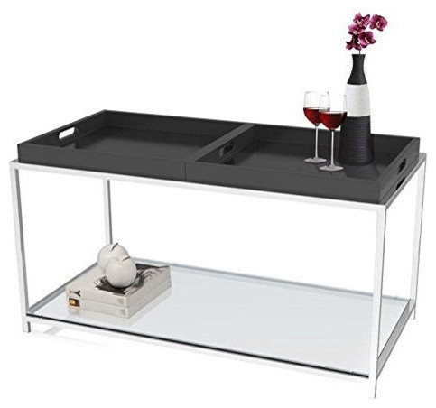 Stunning Common Glass And Black Metal Coffee Table For Modern Glass Top Metal Coffee Table With Black Removable Trays (Image 39 of 50)
