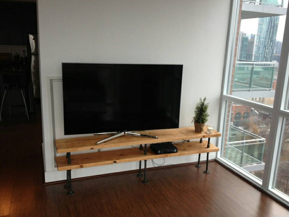 Stunning Common Industrial TV Stands Inside Industrial Pipe And Wood Tv Stand Entertainment Unit (Image 45 of 50)