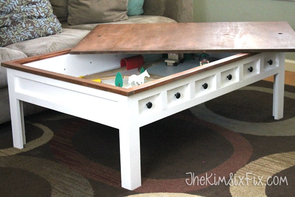 Stunning Common Kids Coffee Tables With Apothecary Style Coffee Table With Hidden Lego And Train Play (Image 46 of 50)