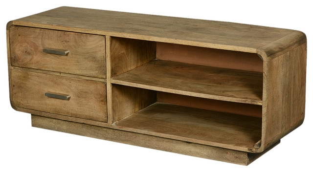 Stunning Common Mango TV Stands Inside Rounded Corners Mango Wood Tv Table Media Island With Side Drawers (Image 45 of 50)