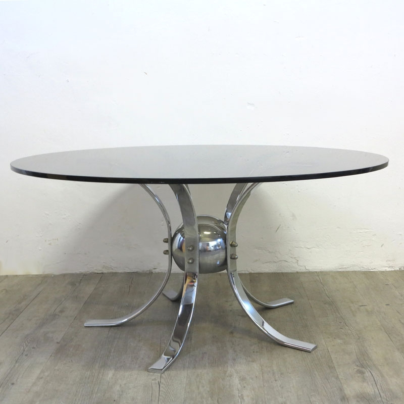 Stunning Common Retro Smoked Glass Coffee Tables Regarding Vintage Chrome Smoked Glass Table 1960s For Sale At Pamono (View 7 of 40)