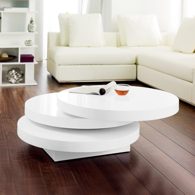Stunning Common Round Swivel Coffee Tables With Living Room Great Triplo Round Gloss Swivel Coffee Table White (View 9 of 50)