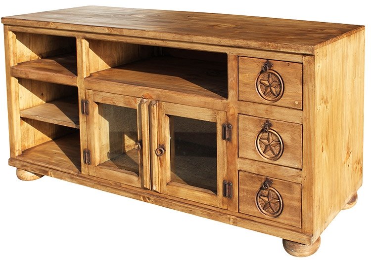 Stunning Common Rustic Pine TV Cabinets Regarding Rustic Furniture Rubio Star Mexican Rustic Pine Tv Stand (View 15 of 50)