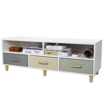 Stunning Common White And Wood TV Stands In Amazon Lifewit Wood Tv Stand Contemporary Entertainment (Image 42 of 50)
