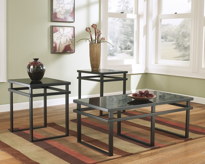 Stunning Deluxe Glass And Black Metal Coffee Table In 3 Pc Laney Collection Black (Image 40 of 50)