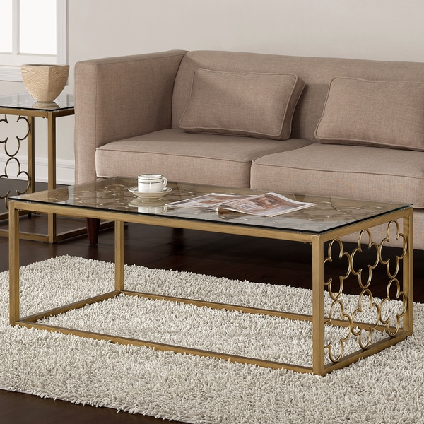 Stunning Deluxe Glass Metal Coffee Tables Throughout Fabulous Gold And Glass Coffee Table (Image 45 of 50)