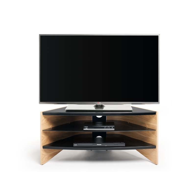 Stunning Deluxe Light Oak Corner TV Cabinets Regarding Techlink Riva Series 50 In Corner Tv Stand Light Oak And Black (Image 43 of 50)