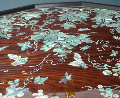 Stunning Deluxe Mother Of Pearl Coffee Tables With Amazon Mother Of Pearl Inlay Art Lacquer Finish Grape Vine (Image 39 of 50)