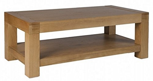 Stunning Deluxe Oak Coffee Table With Shelf With Regard To Oslo Chunky Oak Coffee Table With Shelf Solid Wood Amazonco (View 14 of 50)