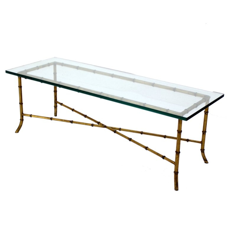 Stunning Deluxe Rectangle Glass Coffee Table With X Base Rectangular Mid Century Modern Gilt Faux Bamboo Glass Top (View 37 of 50)