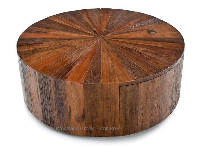 Stunning Deluxe Rustic Coffee Table Drawers With Regard To Fancy Round Wood Coffee Table Round Wood Coffee Table With Drawer (Image 42 of 50)