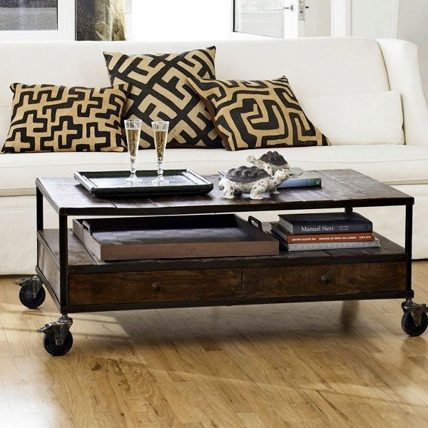 Stunning Deluxe Rustic Coffee Table With Wheels Within Industrial Rustic Coffee Table With Wheels Design Ideas And Decor (Image 43 of 50)